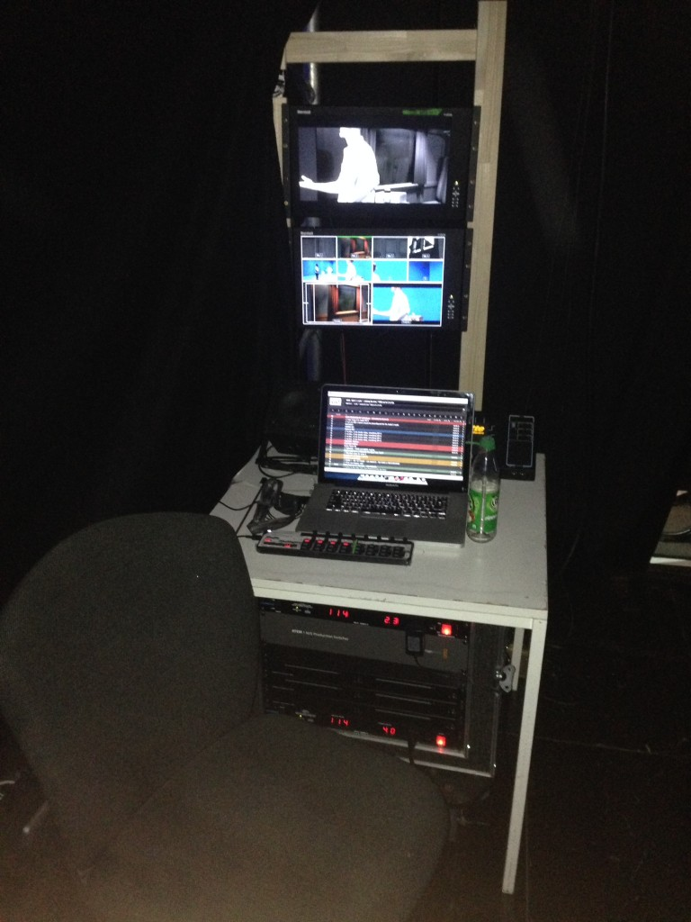 My control station backstage while on tour in Munich, Germany.